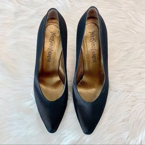 YSL Saint Laurent Grosgrain Black Pumps 9.5